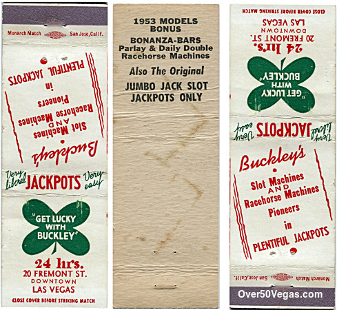 Buckley's Jackpot Club matchcover Las Vegas, NV