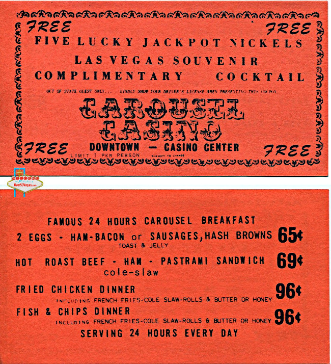 Carousel Lucky Jackpot Nickels Coupn and menu