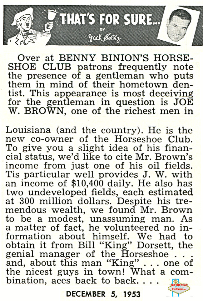 Article from 1953 mentioning Joe W. Brown as a co-owner/partner in Benny Binion's Horseshoe.