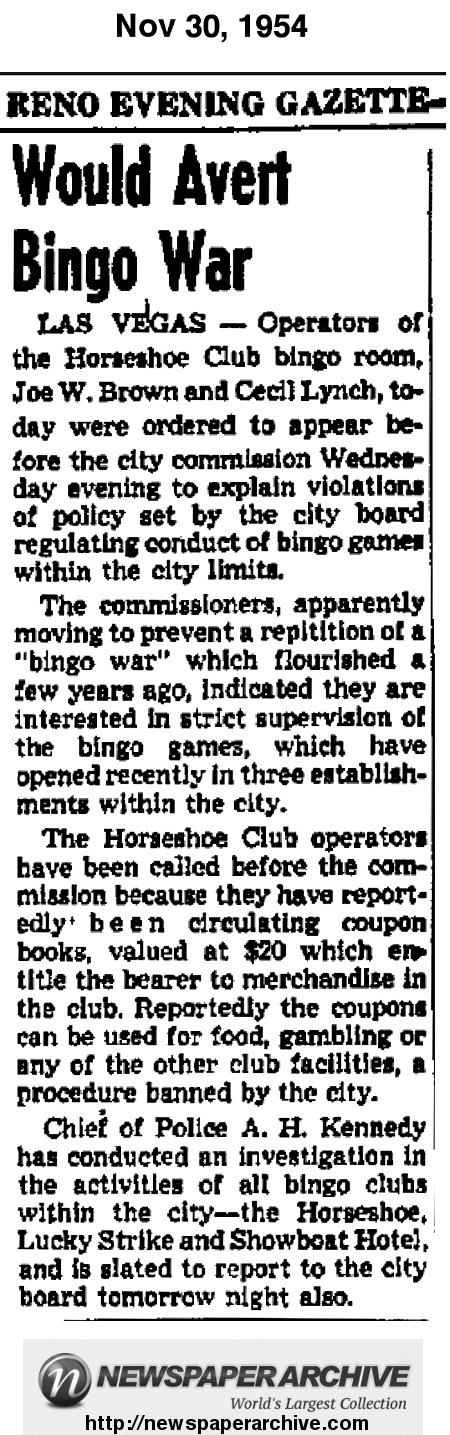"Article from 1954 mentioning Joe W. Brown and Cecil Lynch as ""operators"" of the Bingo Room at the Horseshoe Club."