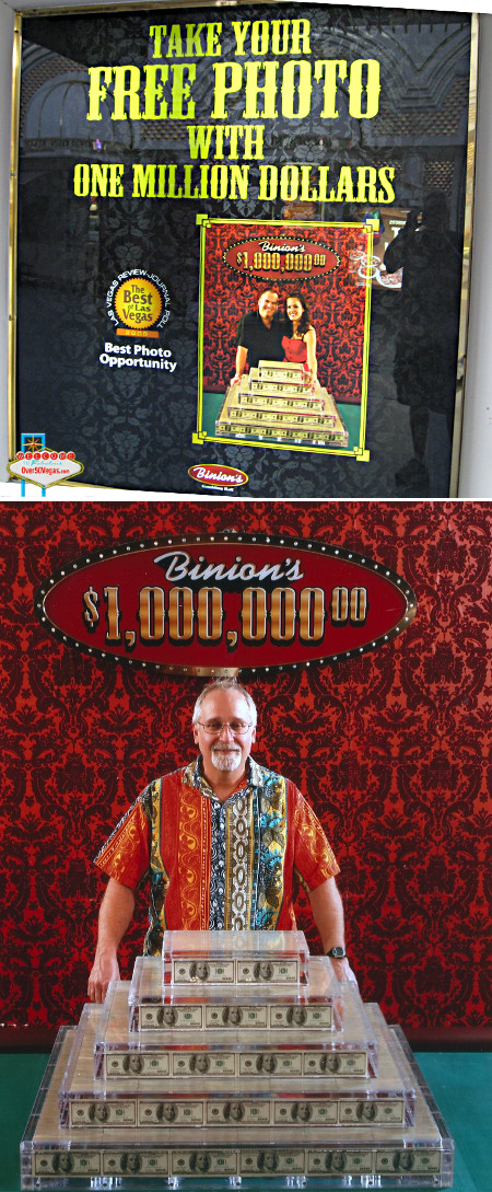 It may not be the giant Horseshoe Million Dollar Display that Becky Binion Behnen sold off, but Binion's Gambling Hall still has pile of cash to get your picture taken with.