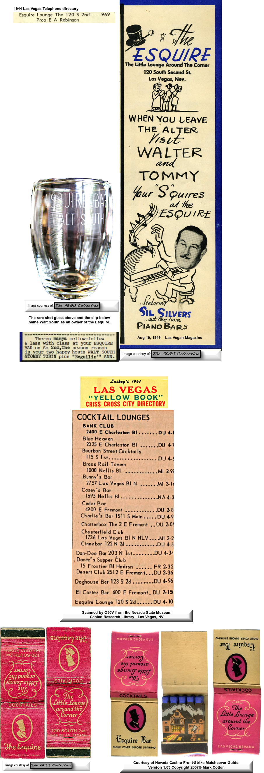Shot glass and matchbook from the Esquire Club, PGG Collection,  Mark Cotton, Nevada Casino Front-Strile Matchcover Guide 2007