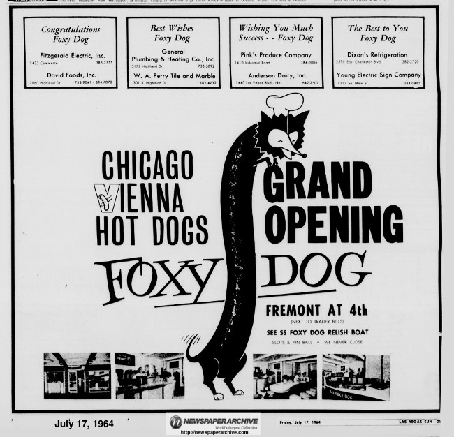 """Grand Opening"" advertisement for the downtown location of the Foxy Dog."