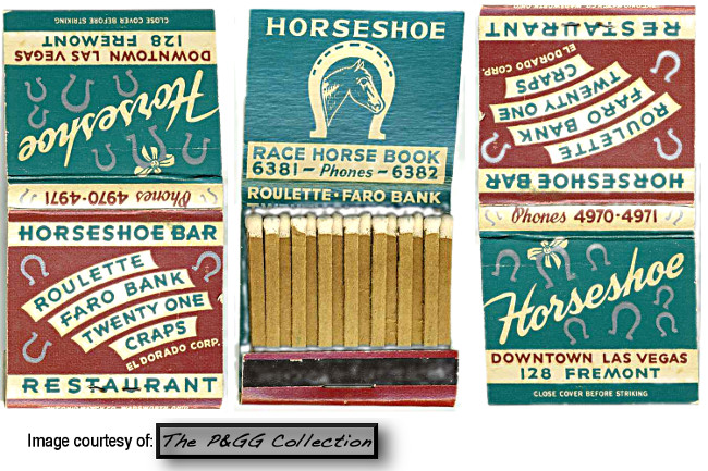 This is one of the first book of matches from the Horseshoe Club.