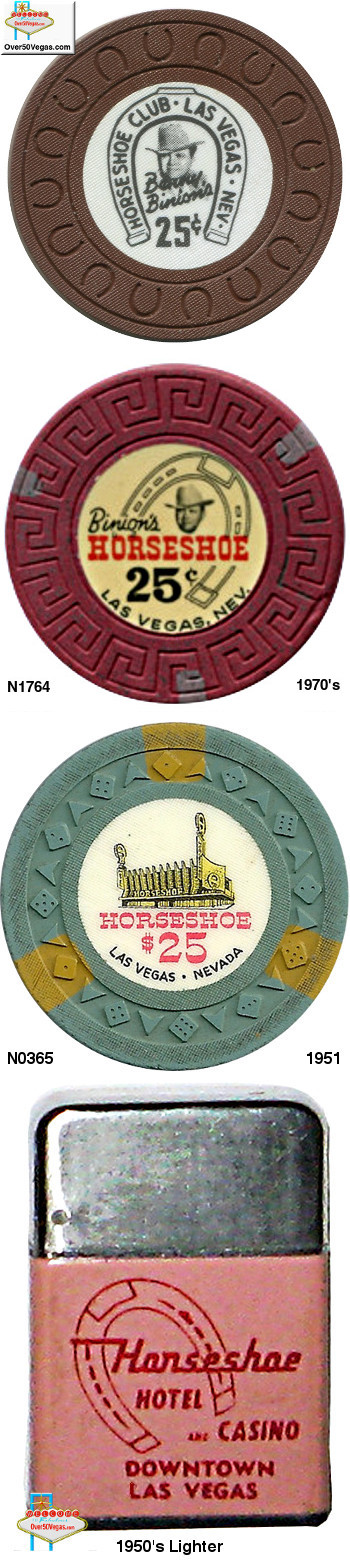 Early 1950's Horseshoe Club Las Vegas chips and cigarette lighter.