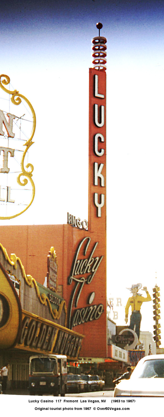 When the Lucky Casino sign  was erected by the Young Electric Sign company in 1963 it weighed in at 60 tons, had three miles of neon tubing, and more than 11,000 lamps.
