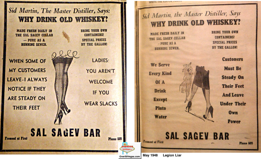 A couple of bawdy ads for the Sal Sagev Tavern in the May 1948 Legion Liar.