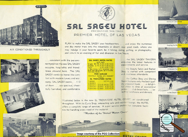 Both sides of a great travel brochure of the Las Vegas area courtesy of the Sal Sagev and the El Trovatore.   Click images to read a larger image.