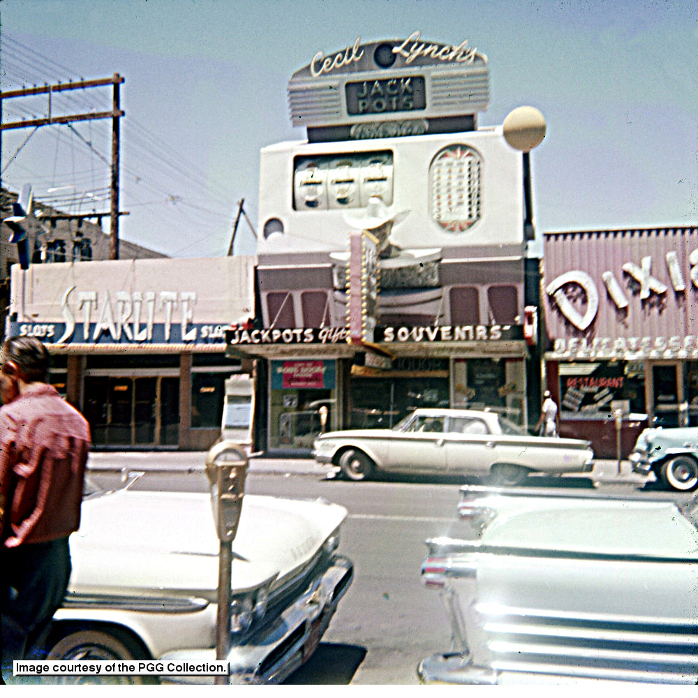 An original tourist slide from the PGG Collection shows Starlight Sales at 20 E. Fremont next to Cecil Lynch's Fortune Club and part of the Dixie Delicatessen.