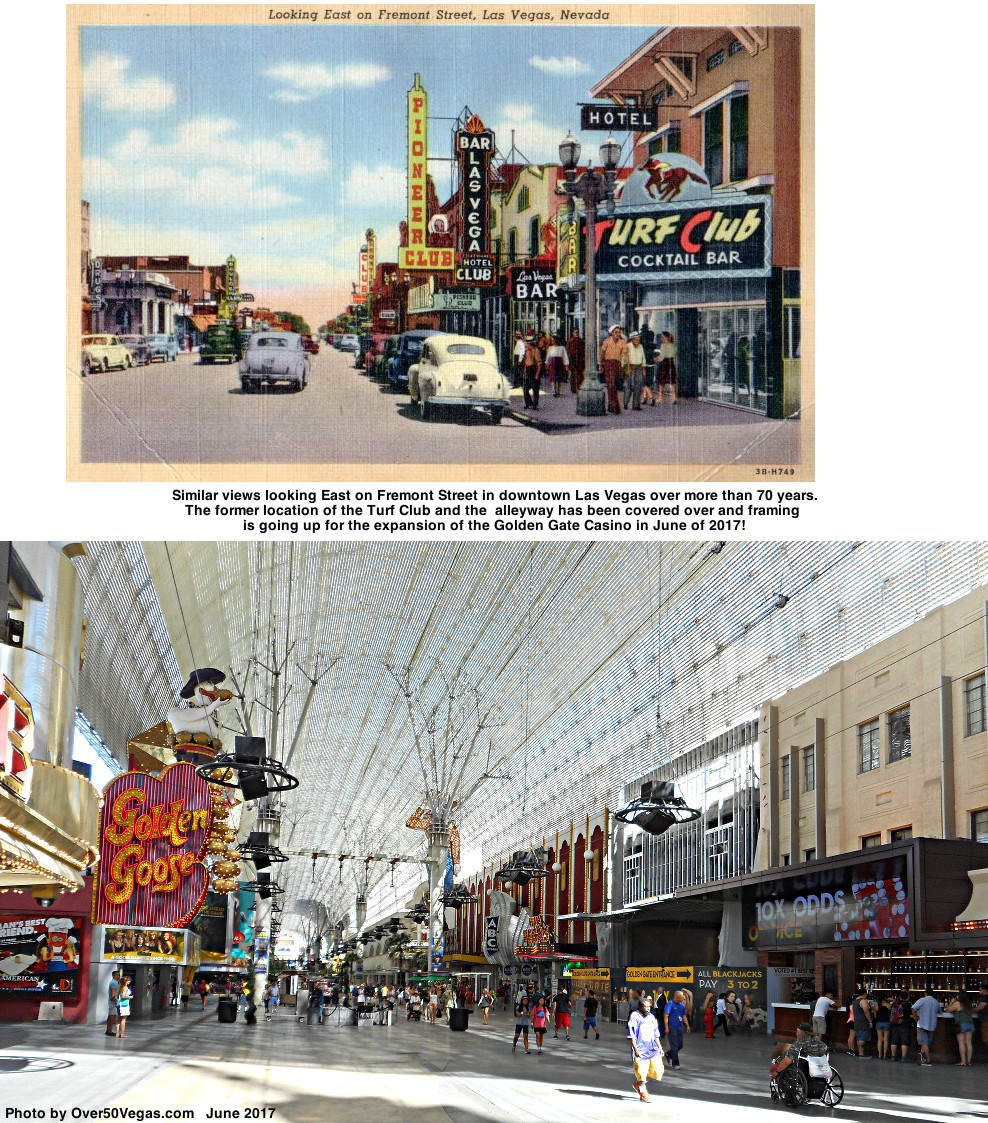 Similar views looking East on Fremont Street in downtown Las Vegas over more than 70 years.